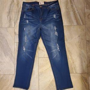 Distressed Western Jeans